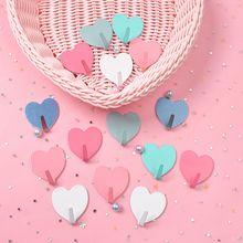1 шт. креативный металлический милый крючок в форме сердца, крепкий клеящийся крючок в виде сердца для девочек, Не оставляющий следов после вставки, дверной крючок, Домашний Органайзер
