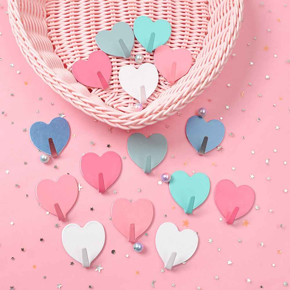 1 Pc Creative Metal Heart-shaped Cute Hook Strong Adhesive Girl Heart Hook No Trace After Paste Door Hook Home Organizer