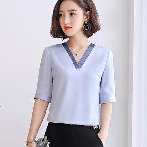 Image 3 - คุณภาพสูงแฟชั่นผู้หญิงVคอเสื้อ 2019 ใหม่ครึ่งแขนหลวมเสื้อชีฟองเสื้อOLอารมณ์ผู้หญิงบวกขนาดเสื้อ