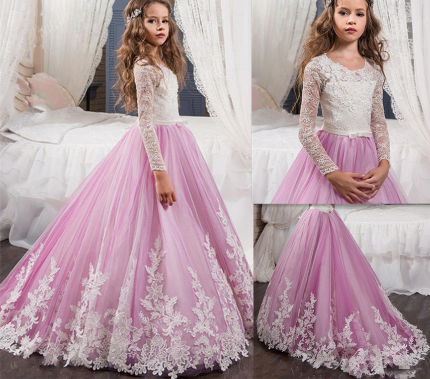 2019 Purple Tulle White Lace Flower Girls Dresses For Weddings Crew Neck Long Sleeves Girls First Communion Dress Birthday Gown