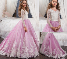 New Light Purple Flower Girls Dresses For Weddings Crew Neck Custom Made Lace Long Sleeves Girls First Communion Dress