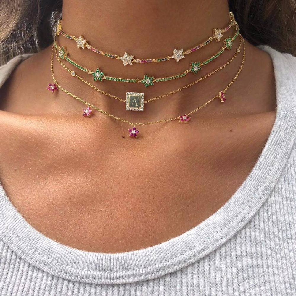 2019 New Fashion Rainbow Color Cute Star Cz Bar Link Chain Choker Necklaces For Women Geometric Charm Delicate Christmas Gift