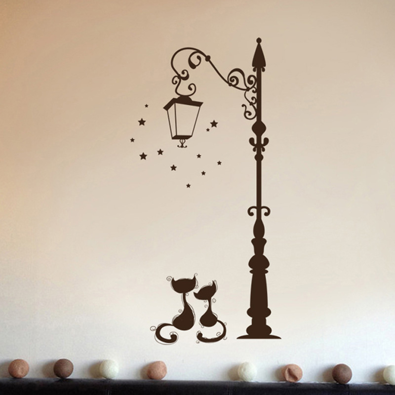 Cats Under The Street Light Wall Stickers Romantic Background For Home Decoration Mural Wallpaper Art Decals Love Cat Sticker