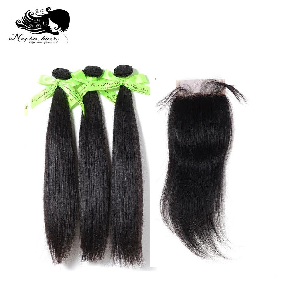 MOCHA Hair Peruvian Straight Hair Extension 3 Bundles with 4X4 Lace Closure Virgin Human Hair Weave Bundles