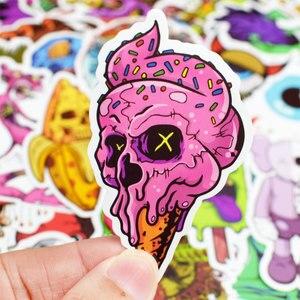 Image 4 - 50 pièces Cool Punk crâne vinyle ordinateur autocollants Spoof horreur autocollant étanche pour ordinateur portable valise voiture téléphone décoration décalcomanies