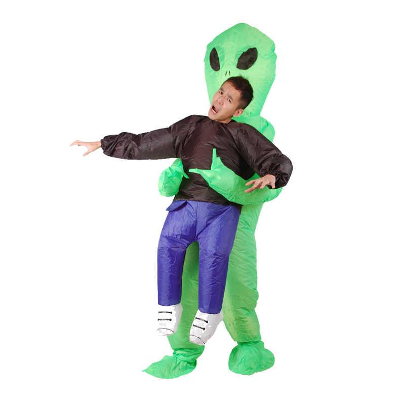 7754eaaa0 Disfraz de monstruo inflable de miedo verde Alien Cosplay disfraz para  niños adultos fiesta de Halloween Festival de actuación de tela