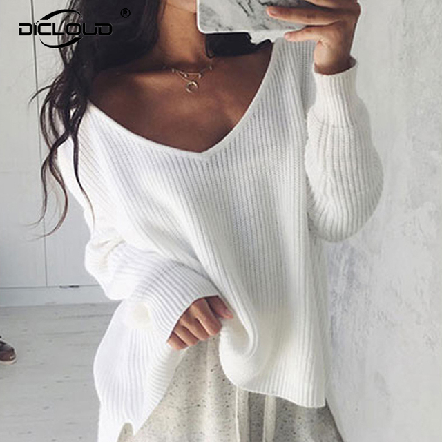 ed56596e46 Sexy Off Shoulder Women Sweaters Split Cozy Knitted Sweater Women Pullovers  Knitwear Autumn Winter 2018 White Jumpers Pull Femme