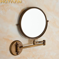 Antique 8 Double Side Bathroom Folding Brass Shave Makeup Mirror Wall Mounted Extend With Arm Round