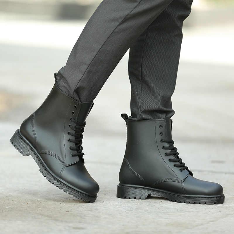 Erkek yağmur çizmeleri Siyah Chelsea Çizmeler Erkek Dantel-up PVC Su Geçirmez yarım çizmeler Yağmurlu Bir Gün erkek ayakkabısı Rainboot Botas Hombre