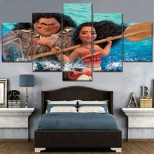 Chirldren Room Wall Art Decorative 5 Piece Ocean Romance Cartoon Movie Poster Brave Maui Moana Painting Modern Canvas Print Type