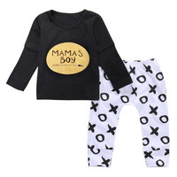 2017 Wholesale Retail Baby Boy Clothes Fashion Casual Long Sleeve T Shirt Tops Pants 2pcs Infant