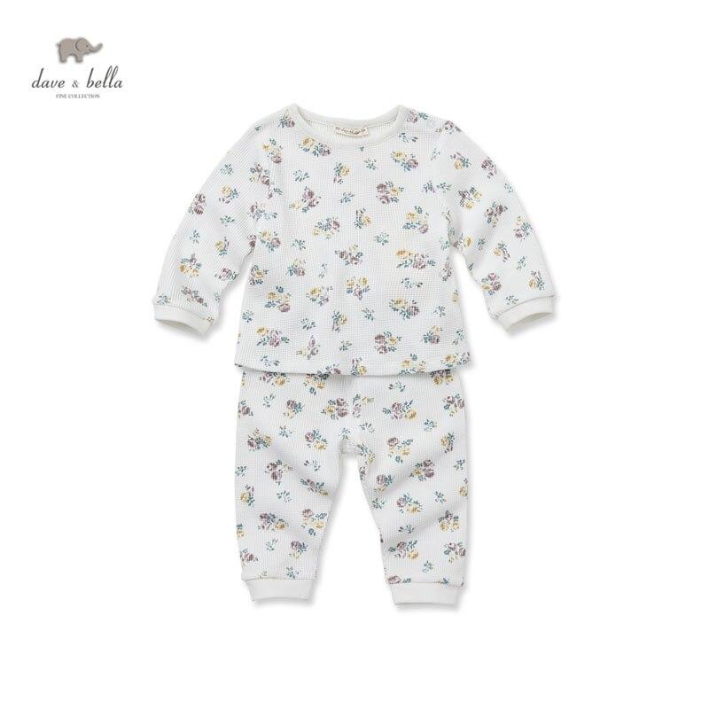 5375c8e8f5f4 DB2994 dave bella autumn winter baby girls floral pajamas sets girls cotton flower  sleepwear kid homewear lolita pajamas 2 sets