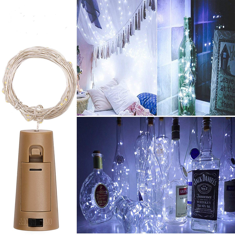 String Led Wine Bottle With Cork 20LED Bottle Lights Battery Cork  For Party Wedding Christmas Halloween Bar Decor Warm White