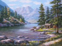 Frameless River Landscape DIY Digital Painting By Numbers Kits Hand Painted Oil Painting Unique Gift For