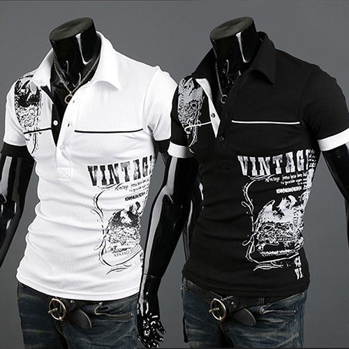 Fshion Mens Fashion Short Sleeve Printed T-shirt Summer Sexy Turn-down Collar Slim Fit Polo Shirt