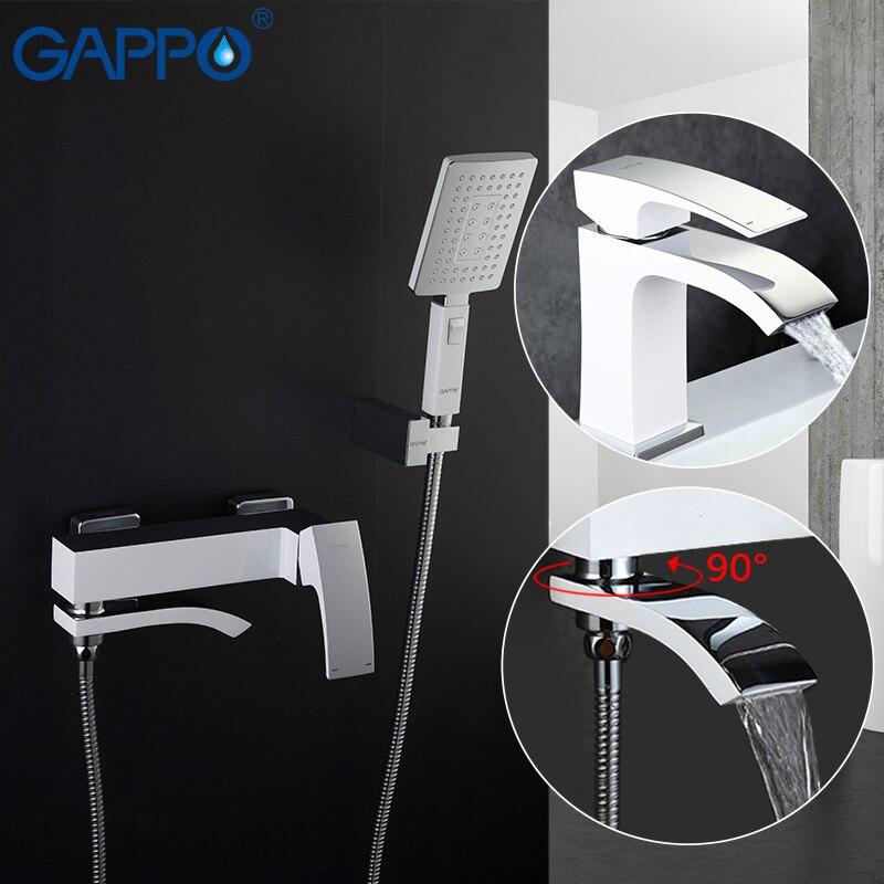GAPPO blanc Bassin Robinets bassin évier mélangeurs d'eau salle de bains douche robinet de bain tête de douche cascade robinet