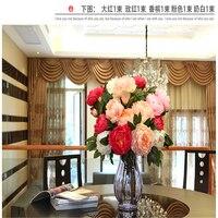 (3 stks/partij) Hoge kwaliteit kunstmatige Pioen bloem voor bruiloft bloem woondecoratie enkele zijde kunstmatige pioen bloem boeket