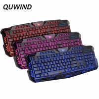 English Version Gaming Keyboard Gamer 3 Color Switchable Backlights LED USB Wired Game Keyboard For Computer