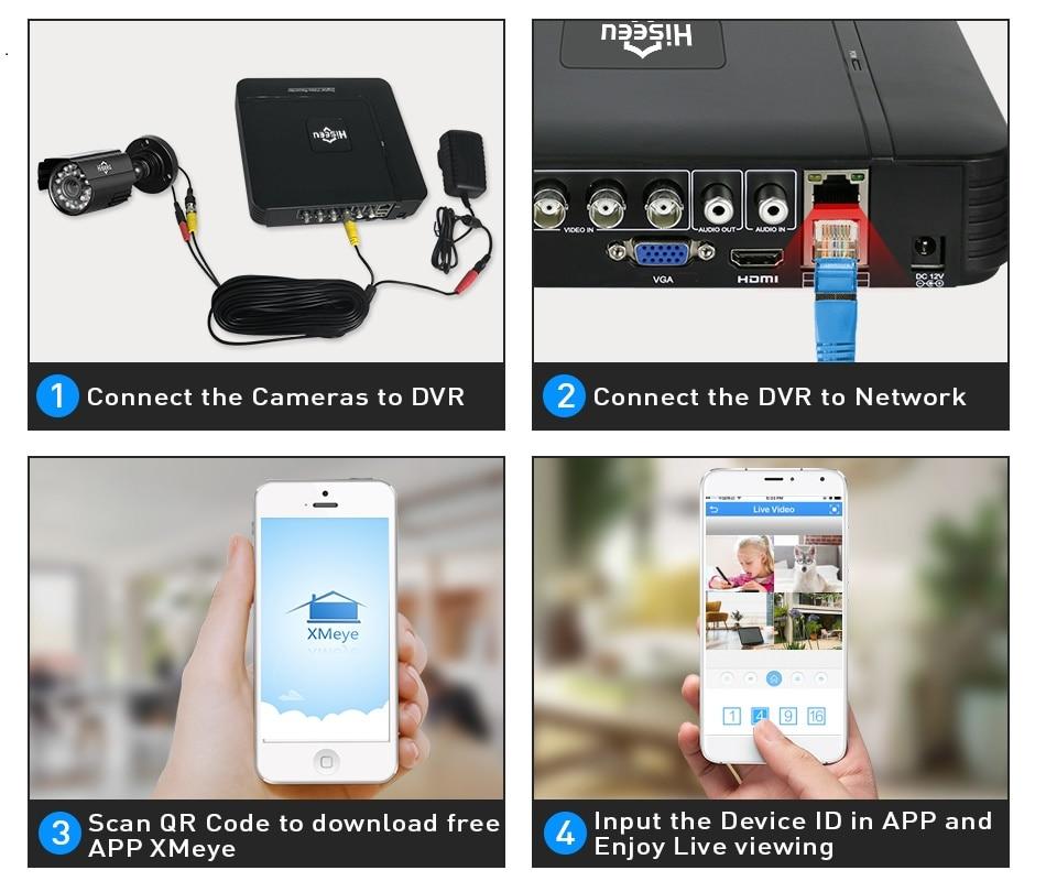 HTB1hTivXznuK1RkSmFPq6AuzFXah Hiseeu Home Security Cameras System Video Surveillance Kit CCTV 4CH 720P 4PCS Outdoor AHD Security Camera System