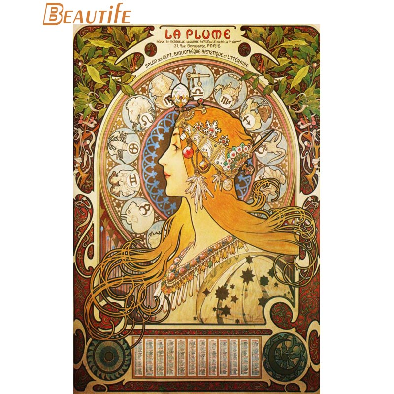 Silk Poster Fabric Alphonse Mucha Home-Decoration 60x90cm Art 30x45cm 40x60cm.50x75cm