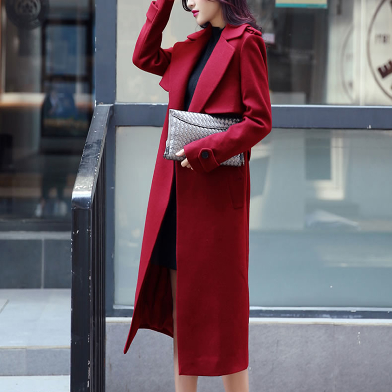 RUGOD 2018 abrigo de invierno con cinturón mujeres cálido abrigo largo de lana de las mujeres abrigo de Cachemira de la moda europea chaqueta Outwear Casaco feminino - 4