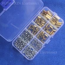 цена на 230Pcs/M3 PCB Threaded Male-Female/Female-Female Brass Standoff Spacer Board Hex Screws Nut Springwasher Assortment Box kit set
