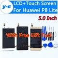 Для Huawei P8 Lite ЖК-Дисплей + Сенсорный Экран 100% Новый Дигитайзер Стекло Замена Для Huawei Ascend P8 Lite 5.0 Дюйма