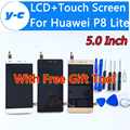 Para huawei p8 lite lcd display + pantalla táctil 100% nuevo panel de cristal del digitizador para huawei ascend p8 lite 5.0 pulgadas