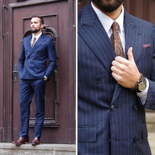 los angeles first look united kingdom US $72.99 27% OFF|Double Breasted Business Formal Men Suit Navy Blue  Pinstripe Suit Men Blazer Casual Coat Jacket Slim Fit Tuxedo Suit with  Pants-in ...