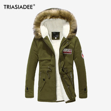 TRIASIADEE Men's Casual Parkas Solid Fleece Winter Jacket Men Hooded Thick Warn Padded Overcoat Man Jaqueta Masculino Inverno