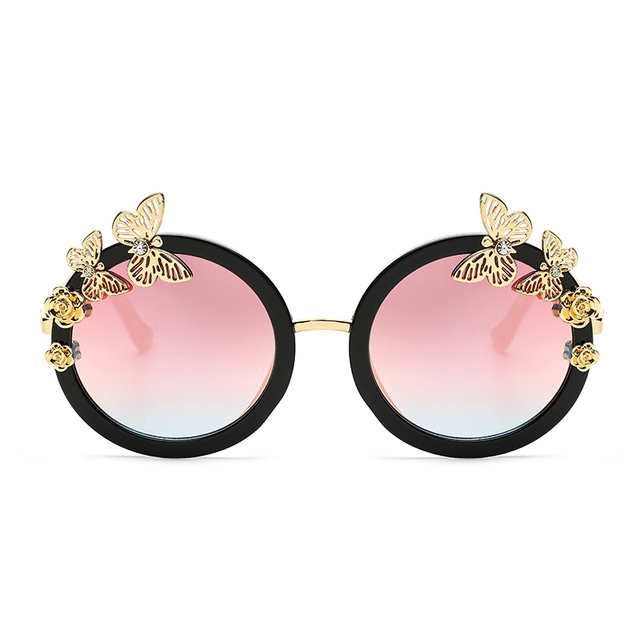 Art Deco Butterfly Flower Round Fashion Women Gradient Lens SUNGLASSES XL  Size Acetate Frame 97234 Oculos De Sol European Style 2f4134b486