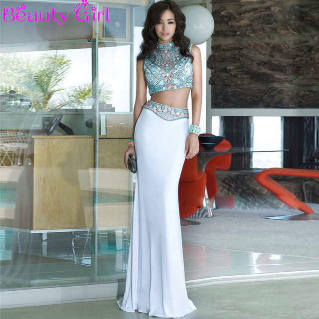 Hot High Neck Colorful Crystal Beaded Black White Engagement Party Dresses Two Pieces Prom