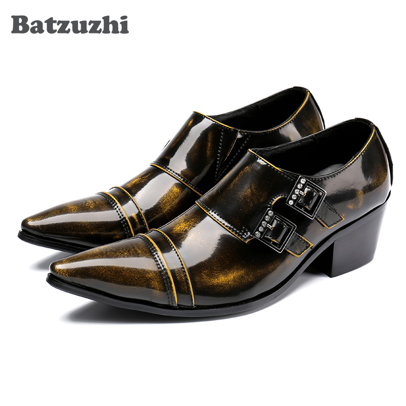 Здесь продается  Batzuzhi Limited Edition Bronze Men Dress Shoes Italian Style Shoes Men Leather Men Dress Shoes 2017 Pointed Toe Forma Shoes Men  Обувь