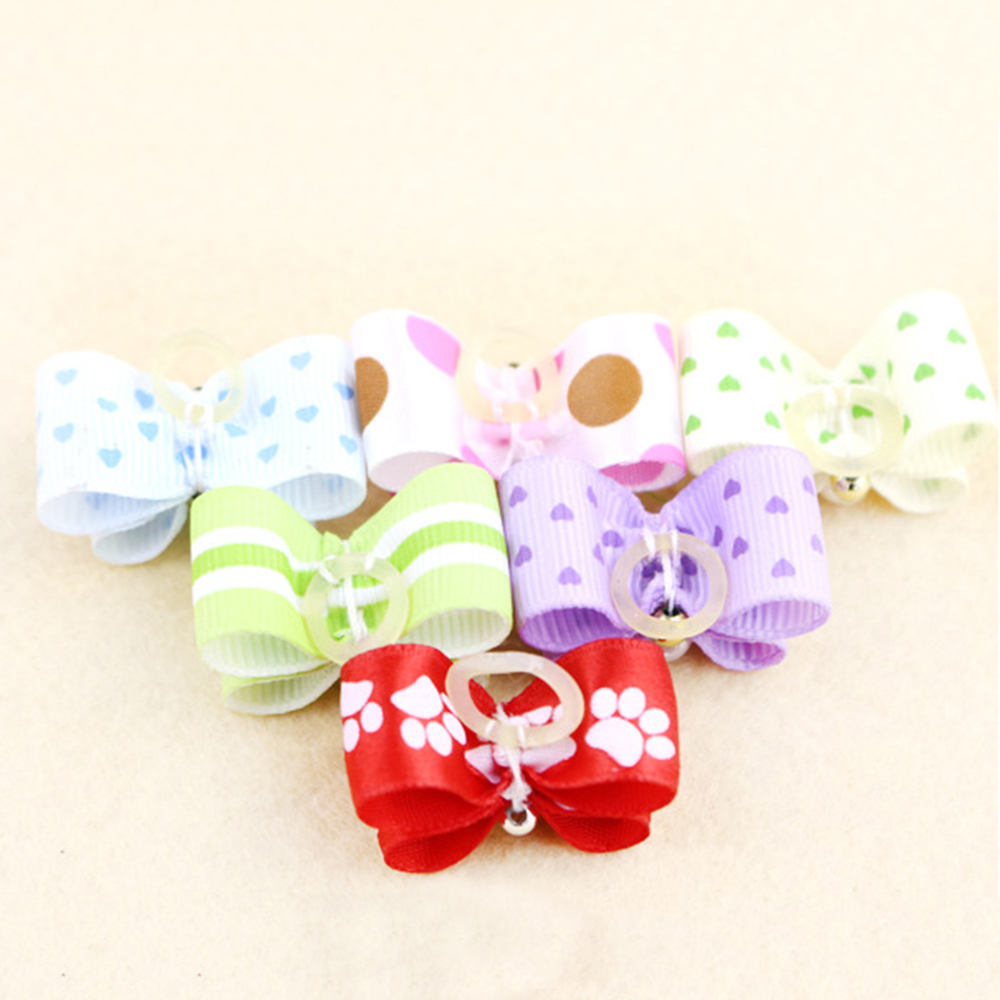 10PCS Handmade Cute Pet Dog Bow Loverly Bowknot Dog Ties For Puppy Dogs Accessories With Rubber Bands Cute Pet Headwear Grooming (4)