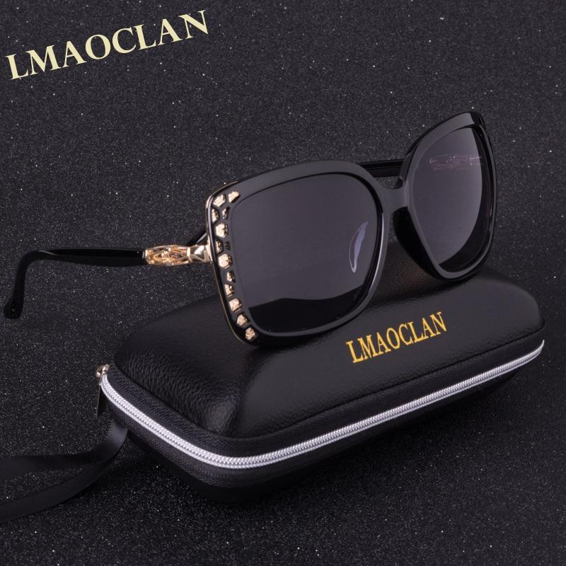 LMAOCLAN الاستقطاب النظارات النساء السيدات التدرج نظارات الشمس أنثى خمر المتضخم نظارات uv400