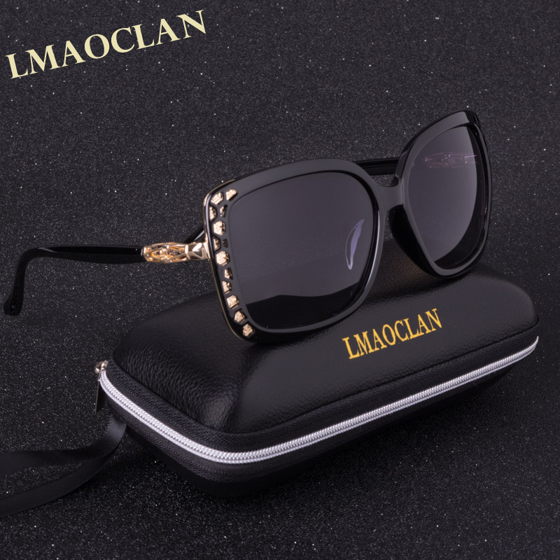 LMAOCLAN Polarizirana sončna očala Ženska Gradient Sončna očala Ženska Vintage prevelika očala UV400