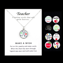 Teacher Life is the Best Teach Teaching Apple Love Pendants Necklaces Unicorn 18mm Glass Cabochon Charm Women Jewelry Gift
