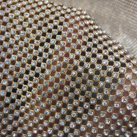 120cm*45cm Gold Rhinestone metallic cloth Crystal metal mesh sequin kendal dress Rolls fabric Cosplay apparel curtains Bags Shoe