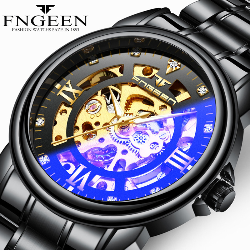 FNGEEN Luxury Mens Watches Top Brand Automatic Mechanical Watch Men Black Hollow Face Waterproof Clock Casual Male Wristwatch цена 2017