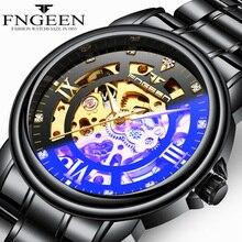 цены FNGEEN Luxury Mens Watches Top Brand Automatic Mechanical Watch Men Black Hollow Face Waterproof Clock Casual Male Wristwatch