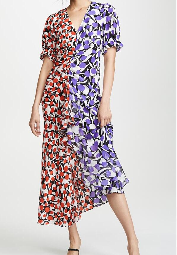 Tulpe Mono Floral Rot Lila Druck Seide crepe Ariel Kleid V ausschnitt frontseiten schlitz Gefaltete gekräuselte detail Kurzen ärmeln Asymmetrische Dres-in Kleider aus Damenbekleidung bei  Gruppe 2