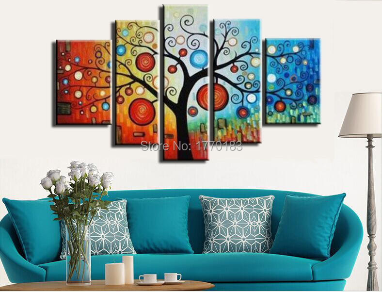 5 Piece Hand painted modern abstract money tree oil painting on canvas large canvas art cheap home decoration artwork pictures