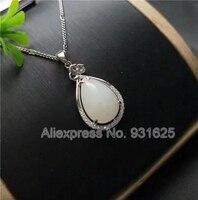 925 naturalny, Biały HeTian Yu Gem Wkładka Projekt Szczęście Wisiorek + Naszyjnik + certyfikat Spada Dangle Biżuteria