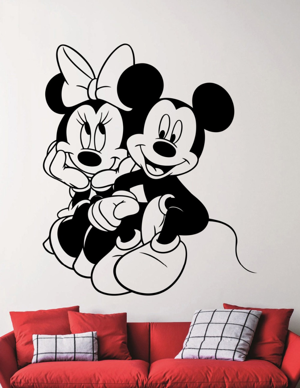 mickey y minnie pegatinas de pared para cuartos de los nios sala de juegos interior extrable tatuajes de pared de vinilo decor