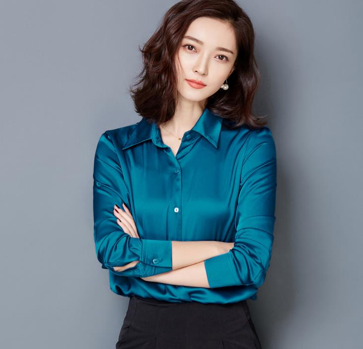 67baa62c809016 2016 new Peacock blue Satin Shirt Women Long sleeve silk Blouses loose  women work wear uniform office shirt simple Chiffon top