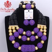 Newest Opaque Black And Purple Handmade Balls African Jewerly Set Nigerian Beads Necklace Jewelry Set Dubai Necklace Sets2017
