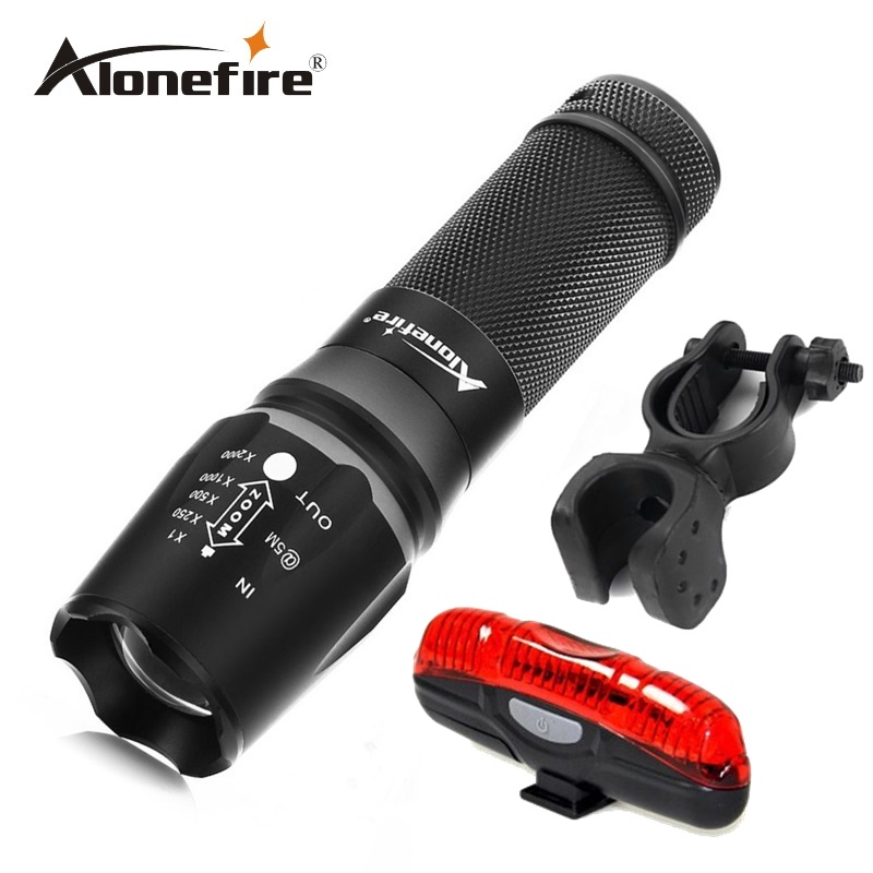 Alonefire X800 4000Lm CREE XM-L T6 focus adjustable outdoor camping 5modes led flashlight torch light lamp+bicycle light+mounts outdoor camping cree xm l 2000lm waterproof 5 modes focus adjustable led flashlight torch light lamp with 18650 and bike clip