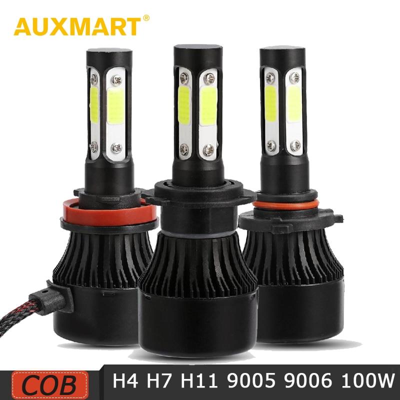 AUXMART 2 pcs H4 H7 H11 9005 9006 LED Phare COB 100 w 10000LM 4 Côté Lumineux Voiture Led Ampoules 6500 k Led Auto Phare 12 v 24 v