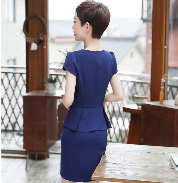 b33c41fa7155 Summer Short Sleeve Formal Uniform Styles With 2 Piece Tops And Skirt  Career Interview Job Ladies