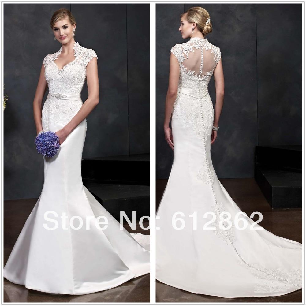 Cap sleeve beaded lace long train mermaid wedding dress for Wedding dress beading patterns